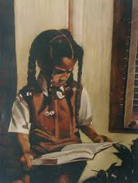Black Girl Reading Book